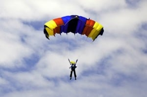 Parachute jumper Against Cloudy Sky from Horia Varlan's Flickr feed by CC by 2.0