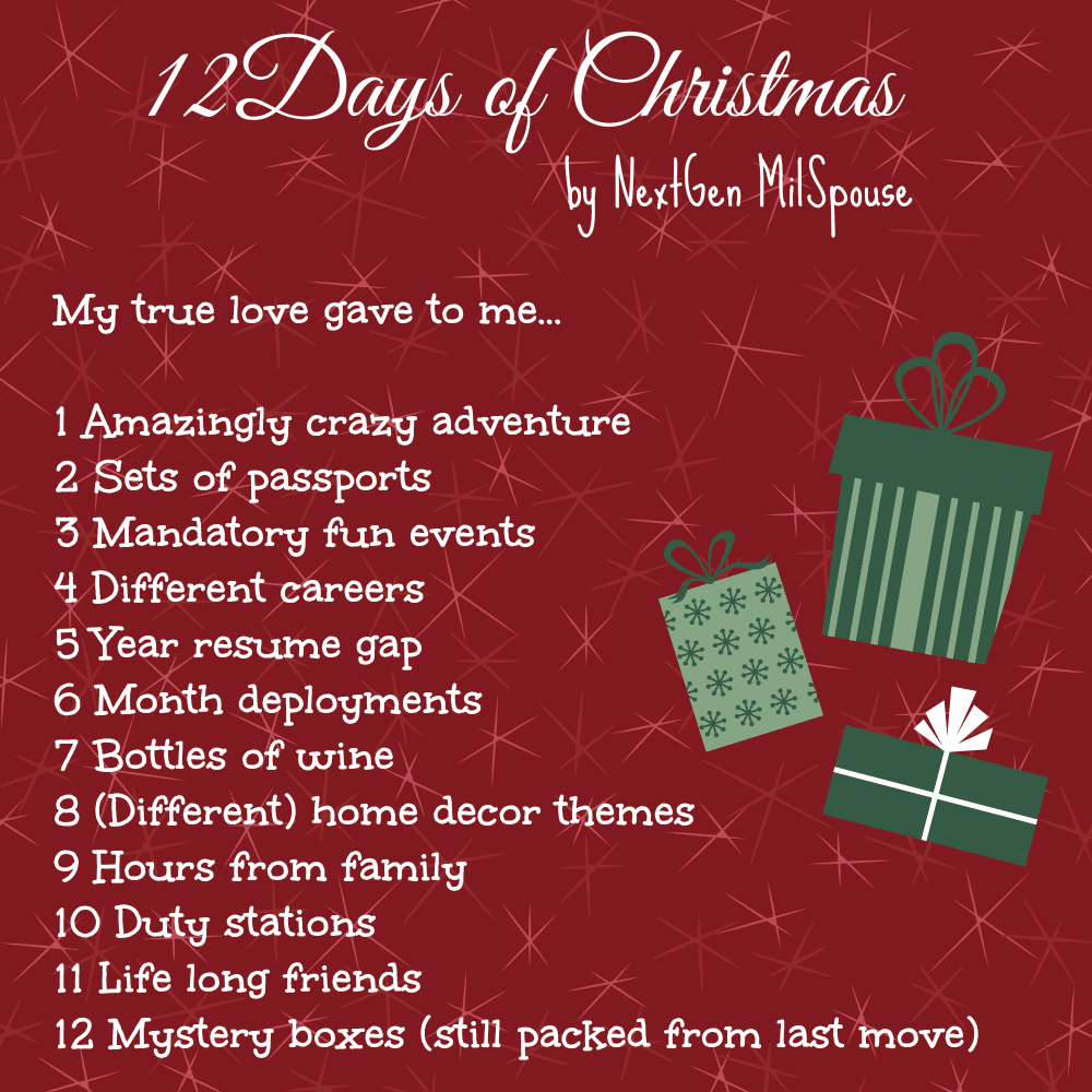 the twelve days of christmas for military spouses - 12 Days Of Christmas Dates