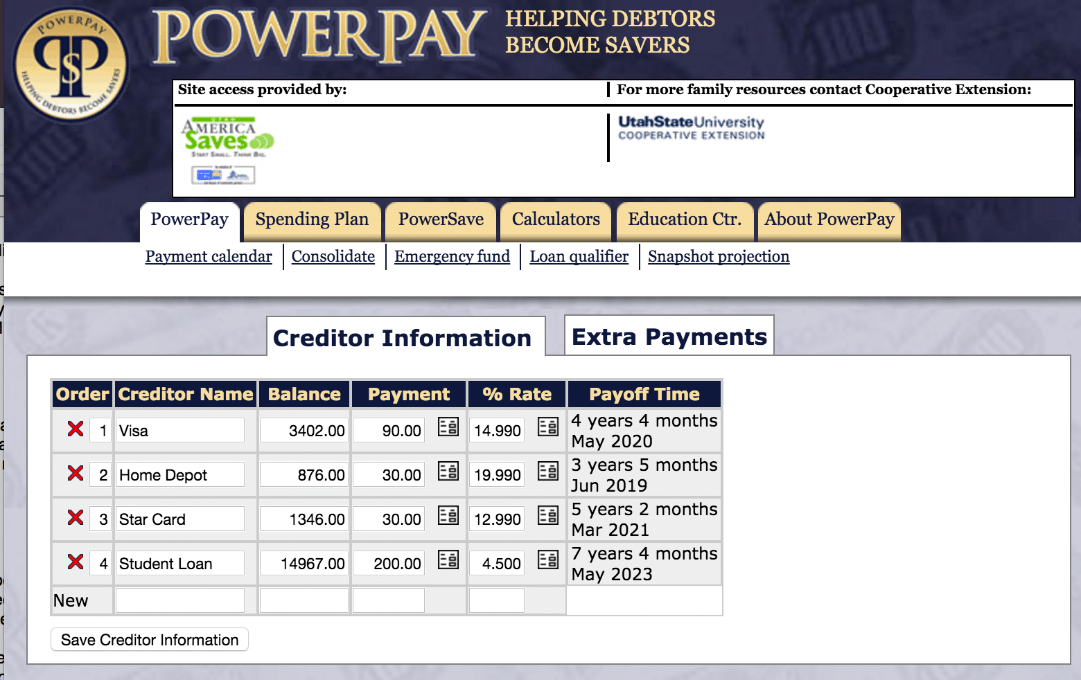 Power Pay Debt Creditor Information