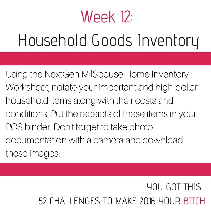 52 Goals Week 12: Do a Household Goods Inventory