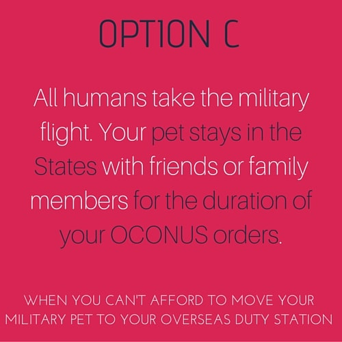 When you can't afford to move your pet to your overseas duty station and need to rehome your pet.