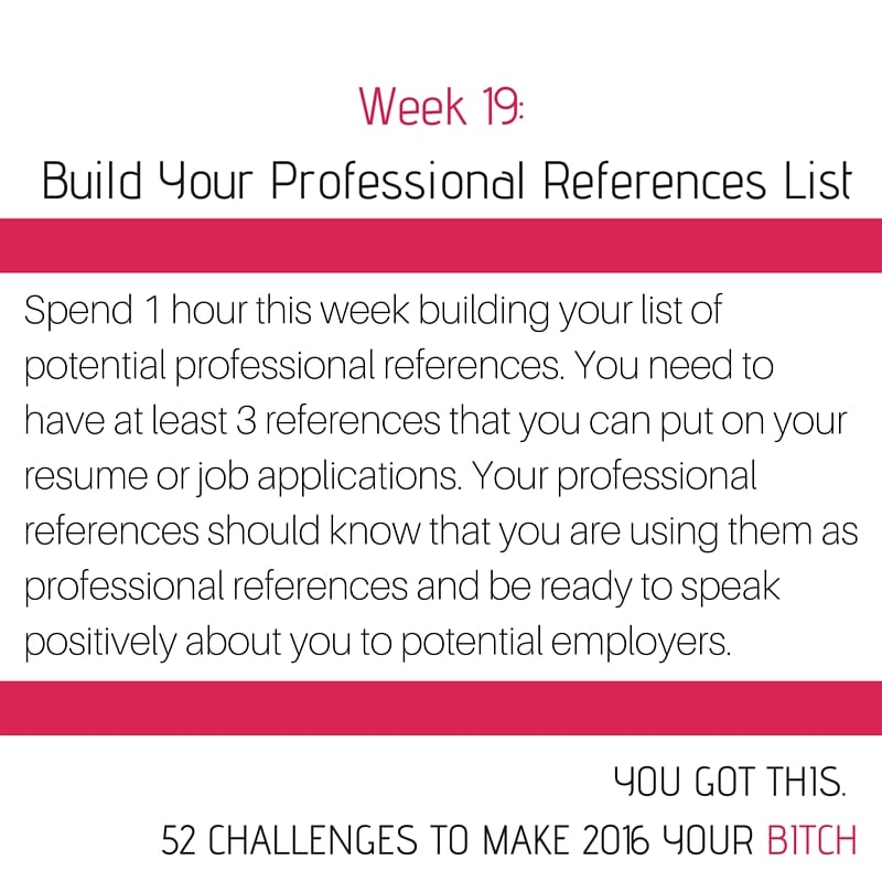 Week 19 Build Your List of Professional References, 52 Goals in 52 Weeks