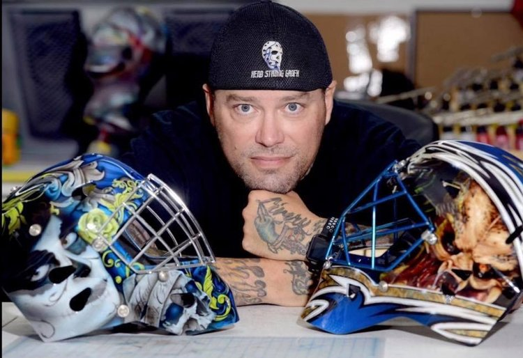 Air Force spouse Jason Livery is the owner and artist of Head Strong GraFx. He custom paints goalie masks for the world's top goalies from the NCAA and NHL.